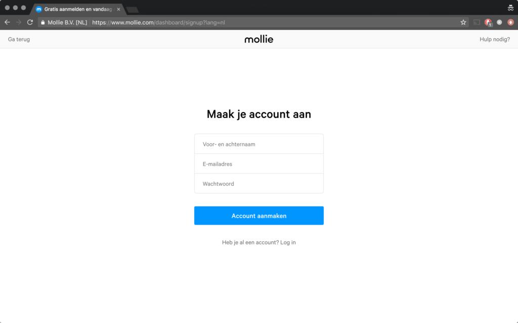 mollie maak je account aan