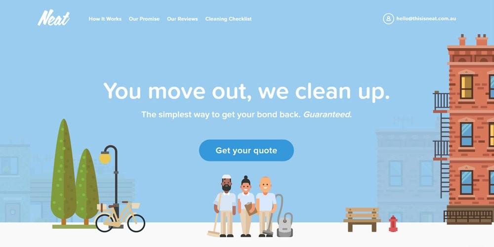 Voorbeeld van een website met illustraties